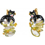 Boucles d'oreille chat et Crystal - Les Néréides