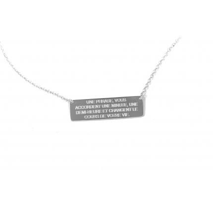Collier chaine plaque rectangle Ley Nat Hugo 2 argente