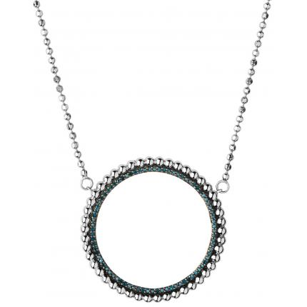 Collier et pendentif Links of London 5020-3546 - Collier et pendentif Effervescence Blue Diamond Halo Femme