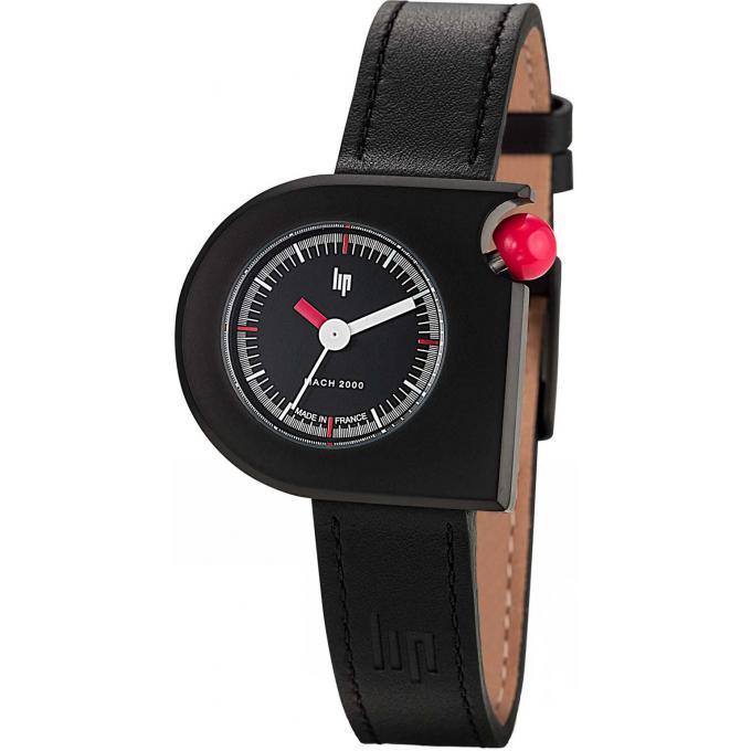 montre lip mach 2000 671096 montre noire cuir femme sur. Black Bedroom Furniture Sets. Home Design Ideas