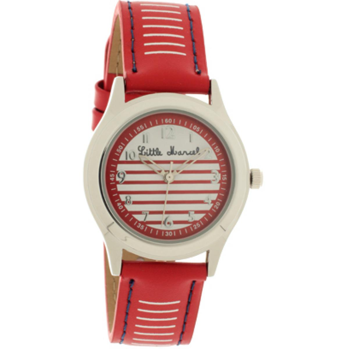 Montre Little Marcel LM45RDC3 - Montre Ronde Cuir Rouge