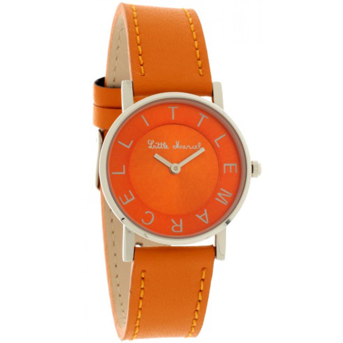 Montre Little marcel LM48OGC - Montre Ronde Cuir Orange Femme