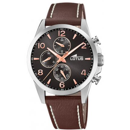 Montre Lotus CHRONO 18630-3 - Montre Chrono Bracelet Cuir Marron Homme