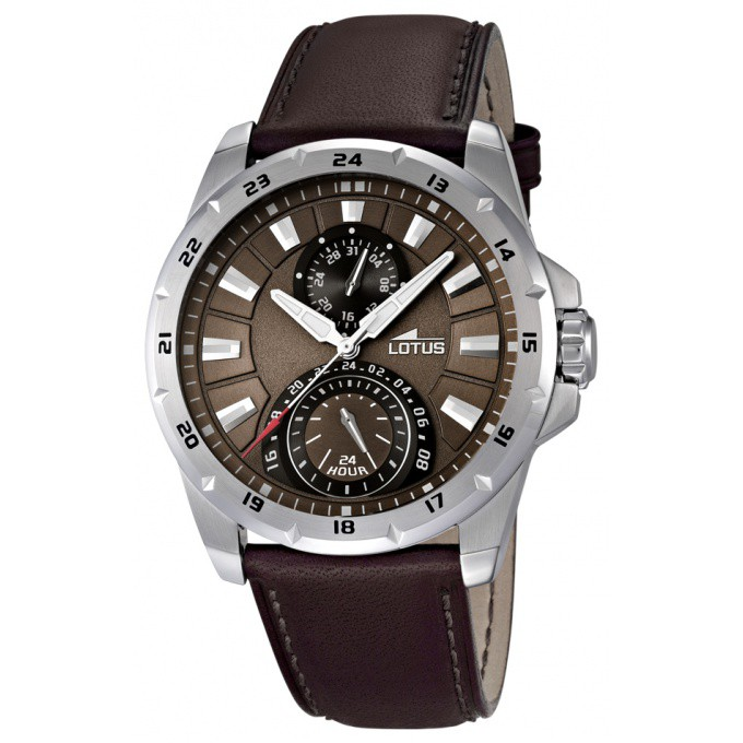montre lotus cuir marron