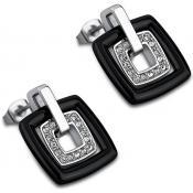 Boucles d'oreilles Lotus Style Bijoux Noir Céramique LS1705-4-2