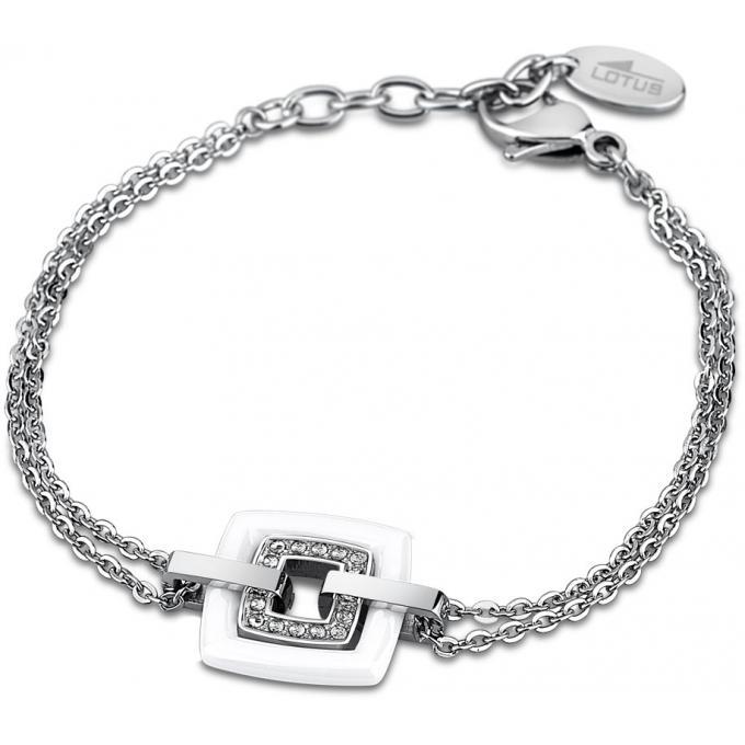 Bracelet Lotus Style CERAMIC LS1705,2,1 , Bracelet Blanc Chaîne Femme