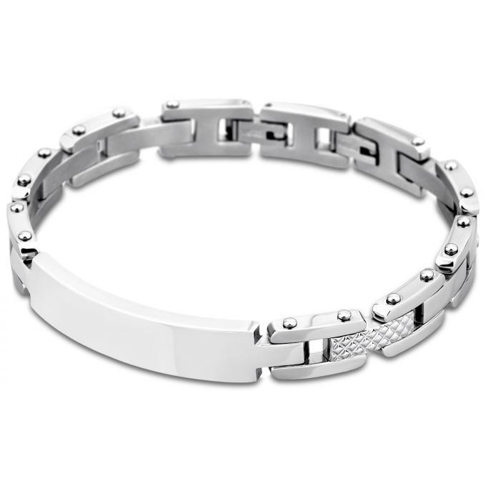bracelet men in black ls1578 2 1 bracelet acier gourmette argent homme sur bijourama. Black Bedroom Furniture Sets. Home Design Ideas
