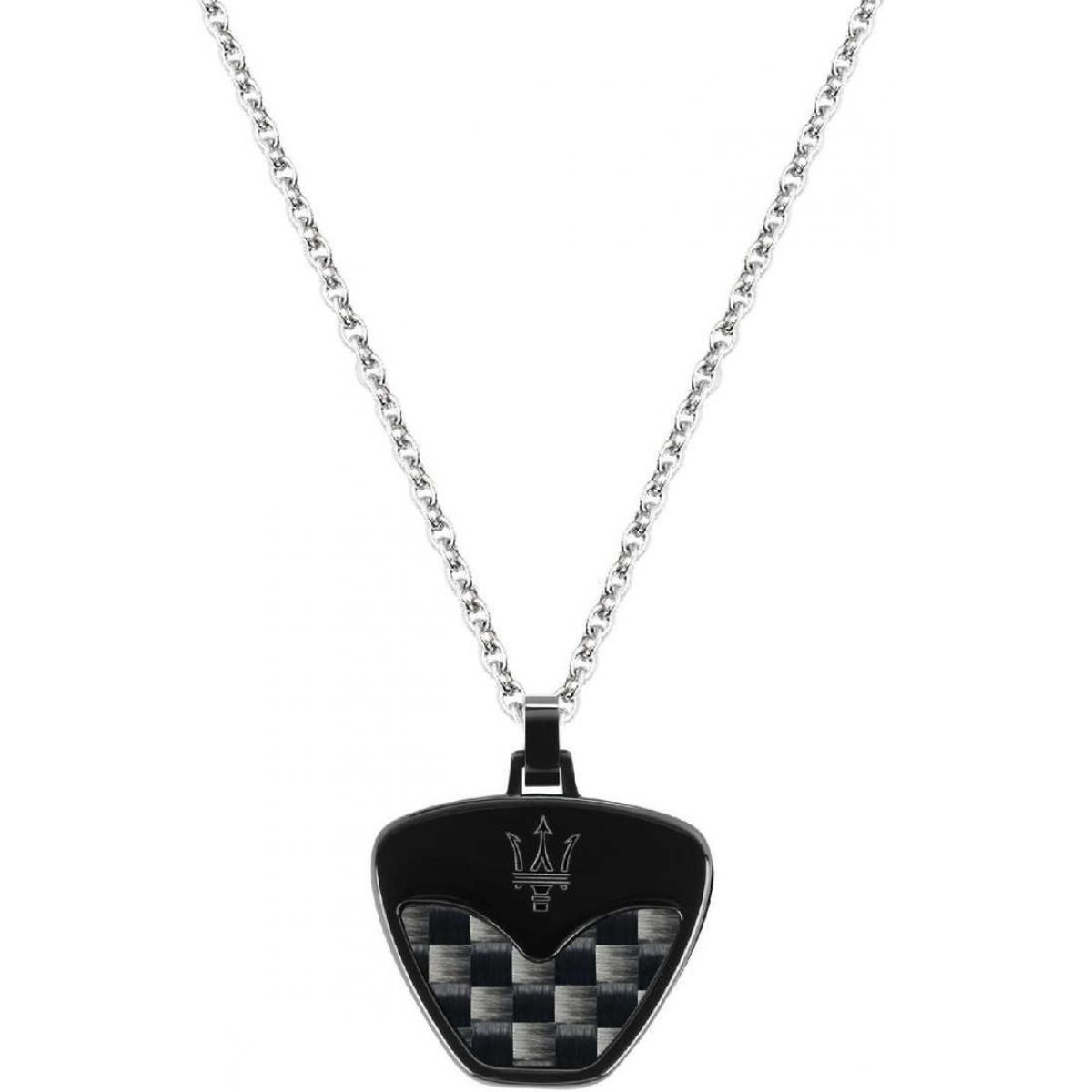 collier acier et carbone homme
