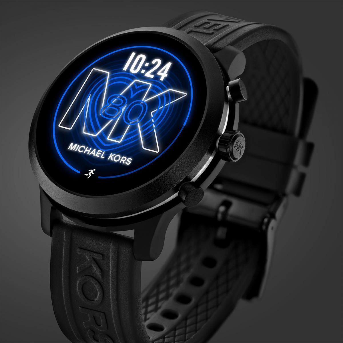 Montre Michael Kors MKT5072 - Connectée Full Display MK GO Boîtier  Aluminium Noir Bracelet Silicone Noir Femme