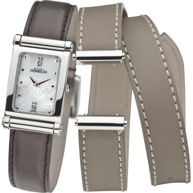 coffret montres michel herbelin antares montre cuir marron diamant femme sur. Black Bedroom Furniture Sets. Home Design Ideas