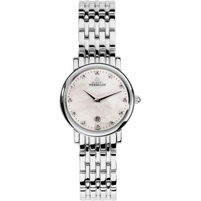 montre michel herbelin classiques 16945 b59 montre diamants acier femme sur bijourama montre. Black Bedroom Furniture Sets. Home Design Ideas
