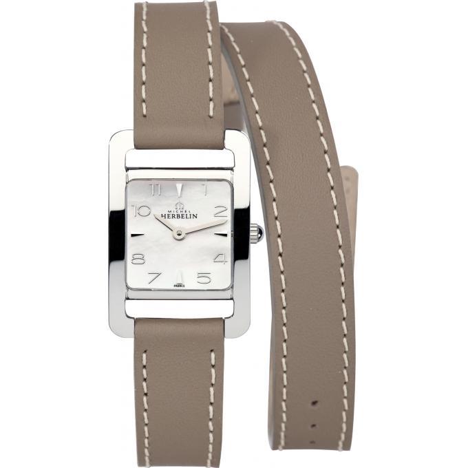montre michel herbelin v avenue 17437 19ta montre cuir taupe femme sur bijourama montre. Black Bedroom Furniture Sets. Home Design Ideas