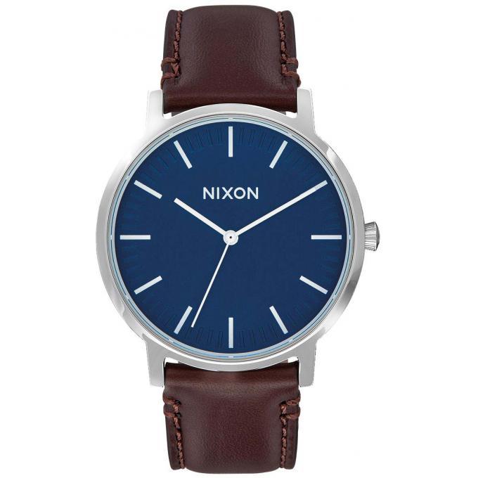 montre nixon a1058 2756 montre cuir marron cadran bleu. Black Bedroom Furniture Sets. Home Design Ideas