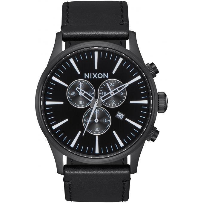montre nixon sentry chrono a405 756 00 montre chronographe cuir noir homme sur bijourama. Black Bedroom Furniture Sets. Home Design Ideas