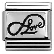 Charm Nomination Plaque 330102-07 - Charm Infinity Love Writing Mixte