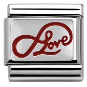 Charm Nomination Plaque 330206-05 - Charm Infinity Love Writing Mixte
