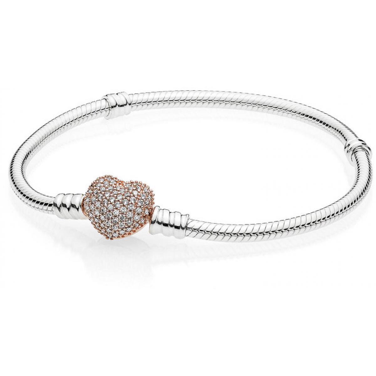 Bracelet Pandora 586292CZ - Bracelet Coeur Pavé Rose Femme
