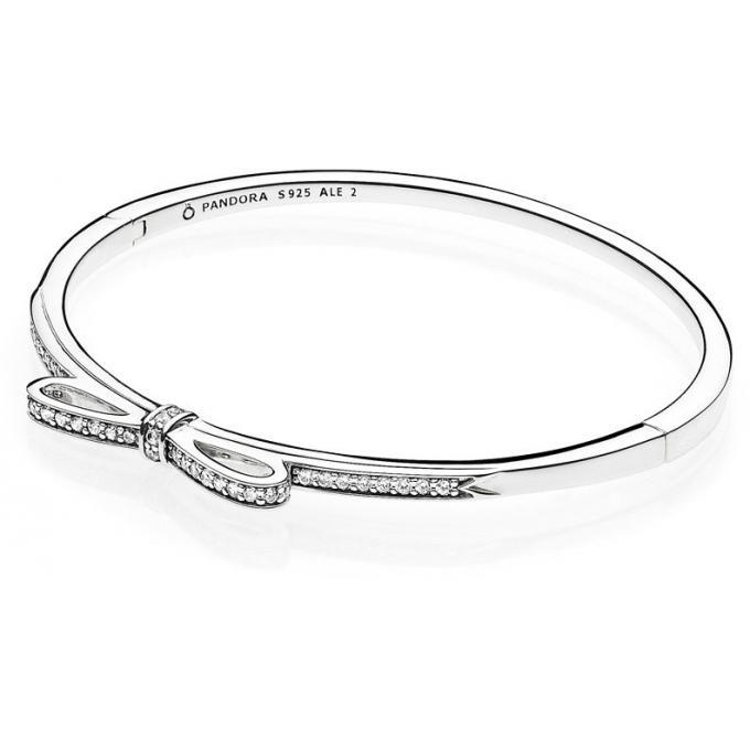 Bracelet Pandora 590536CZ , Bracelet Jonc Nœud Scintillant Femme