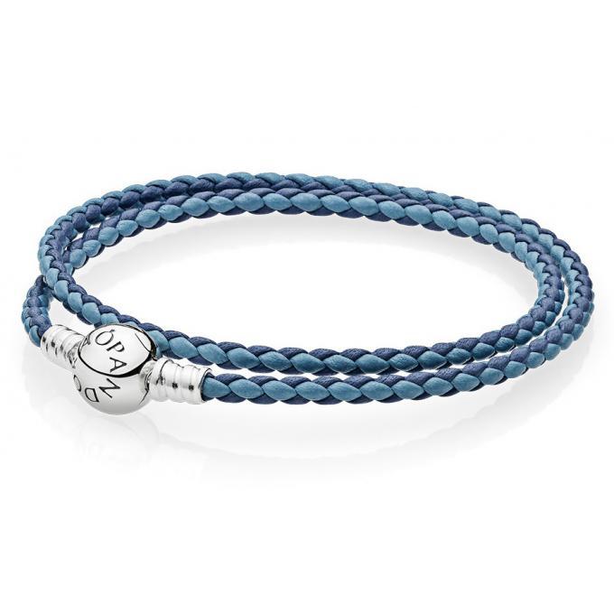 Bracelet Pandora 590747CBMX_DOUBLE , Bracelet Cuir Double,Tour Bleu Femme
