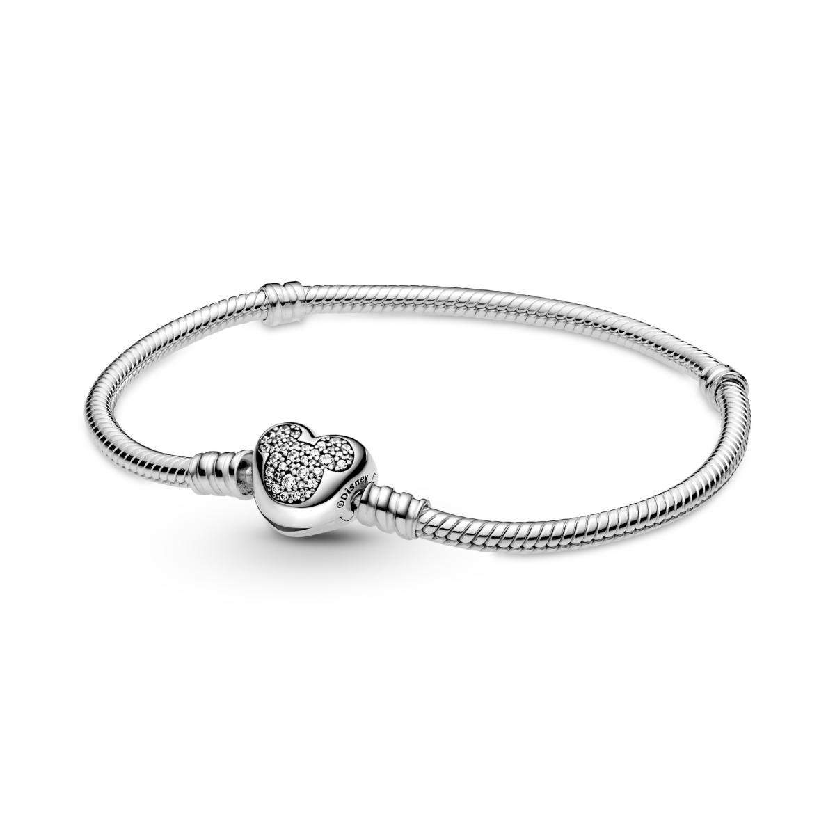 Bracelet Disney Maille Serpent Fermoir Cœur Mickey Pandora Moments ...