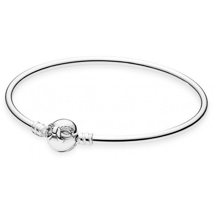 Bracelet Pandora 590724CZ , Bracelet Jonc en Argent Moment Noeud Délicat Femme