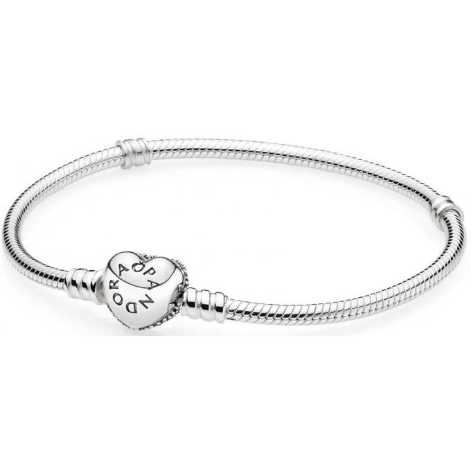 Bracelet Pandora 590727CZ , Bracelet Moments en Argent Coeur Pavé