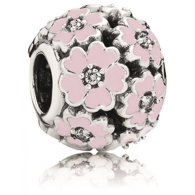 charm pandora fleur rose