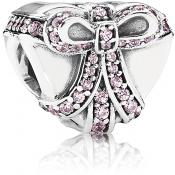 Charms Pandora Coeur Rose Argent 791423PCZ - Moments de Vie