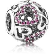 Charms Pandora Coeur Rose Argent 791424CZS - Moments de Vie