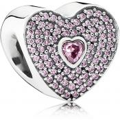 Charms Pandora Coeur Rose Argent 791555CZS - Moments de Vie
