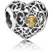 Charms Pandora Coeur Signature Citrine 791784CI - Moments de Vie