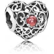 Charms Pandora Coeur Signature Grenat 791784GR - Moments de Vie