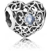 Charms Pandora Coeur Signature Aigue-Marine 791784NAB - Moments de Vie