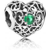 Charms Pandora Coeur Signature Cristal Vert 791784NRG
