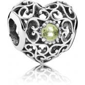 Charms Pandora Coeur Signature Péridot 791784PE - Moments de Vie