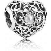 Charms Pandora Coeur Signature Cristal Blanc 791784RC - Moments de Vie