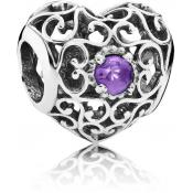 Charms Pandora Coeur Signature Améthyste 791784SAM - Moments de Vie