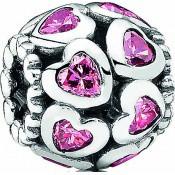 Charms Pandora Charm Coeur Argent Rose 791250CZS