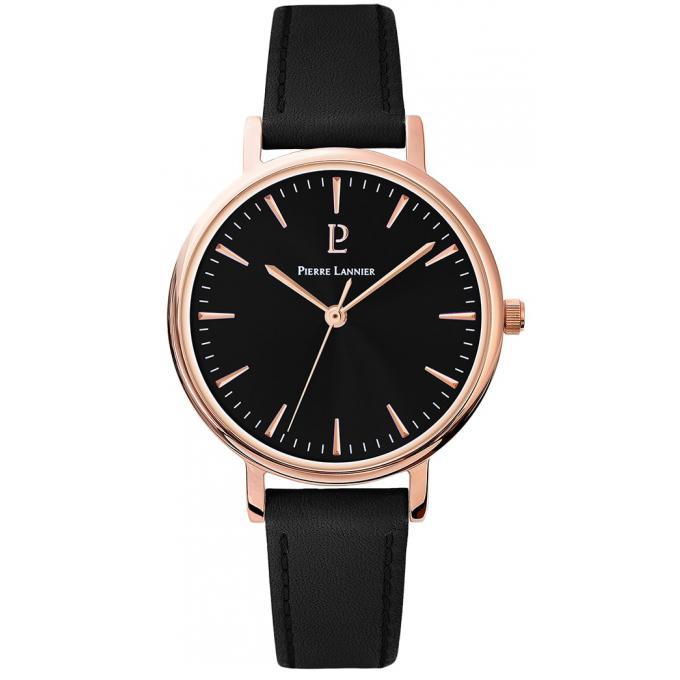 e59a9df84564c Montre Pierre Lannier 092L933 - Montre bracelet cuir noir sur ...