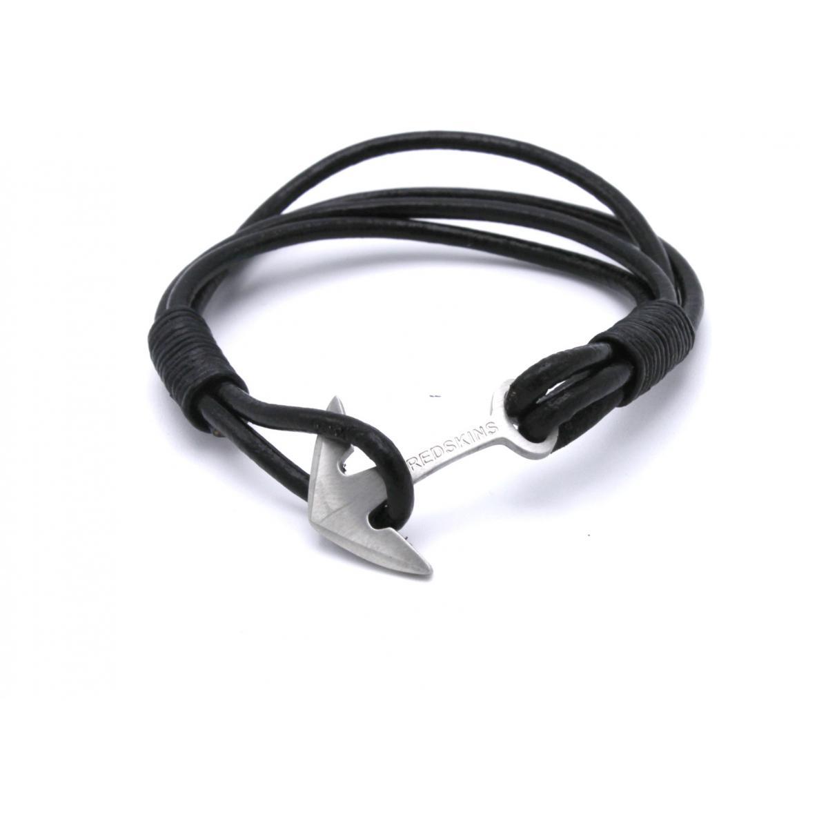 Extremement Bracelet Redskins 285120 - Bracelet Ancre Cuir Noir Homme sur VK-88