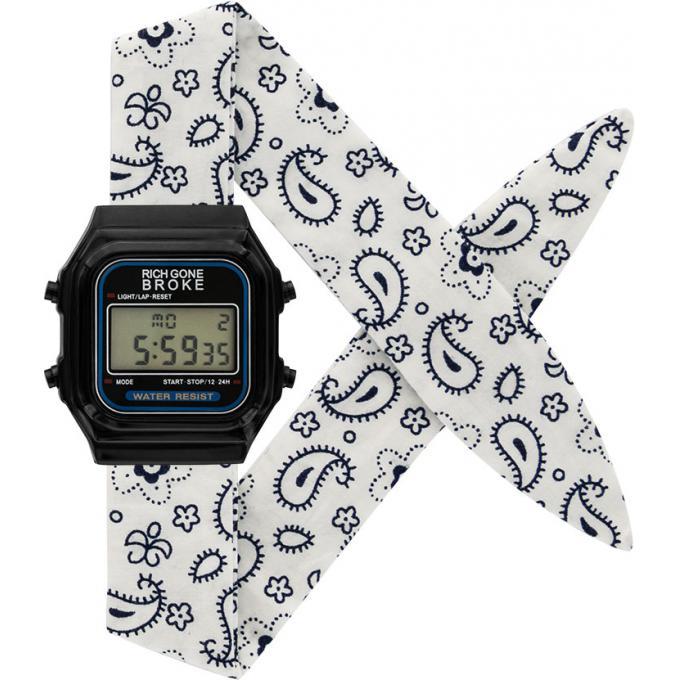 montre rich gone broke dlbne montre tissu blanche mixte sur bijourama montre mixte pas cher. Black Bedroom Furniture Sets. Home Design Ideas