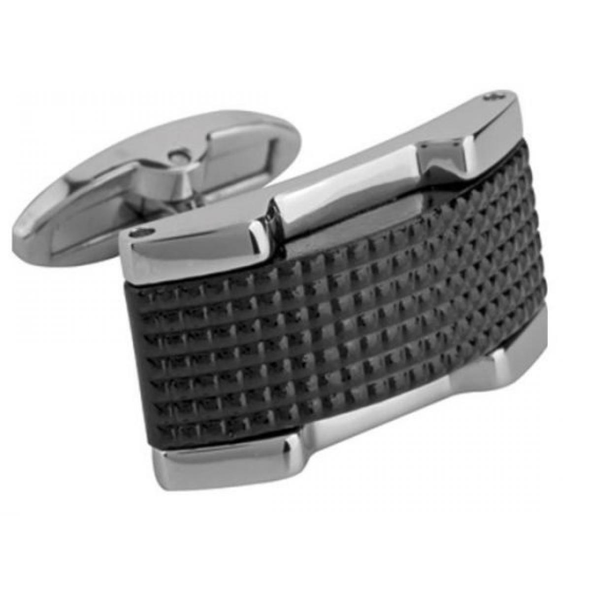 Promo : Boutons de manchette Rochet M13212 - APOLLO Acier Ceramique Noir
