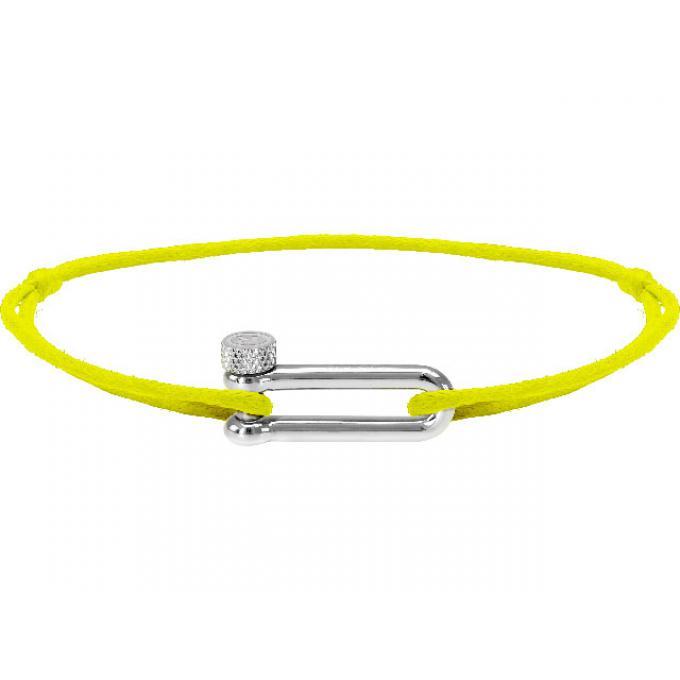 Plus B25602549 Bracelet Réglable Cordon Acier Coton Fluo Mila D'infos Jaune Femme Rochet EDIWH29