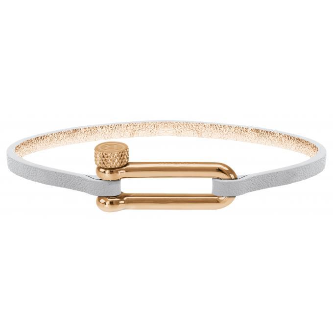 modèles à la mode regard détaillé Garantie de satisfaction à 100% Bracelet Rochet B34690102 - BOUDEUSE Acier et Cuir Blanc M Femme Plus  d'infos