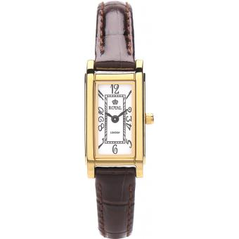 Montre Royal London 20011-06 - Montre Réctangulaire Cuir Marron Femme