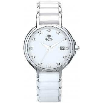 Montre Royal London 20153-01 - Montre Blanche Céramique Brillante Femme