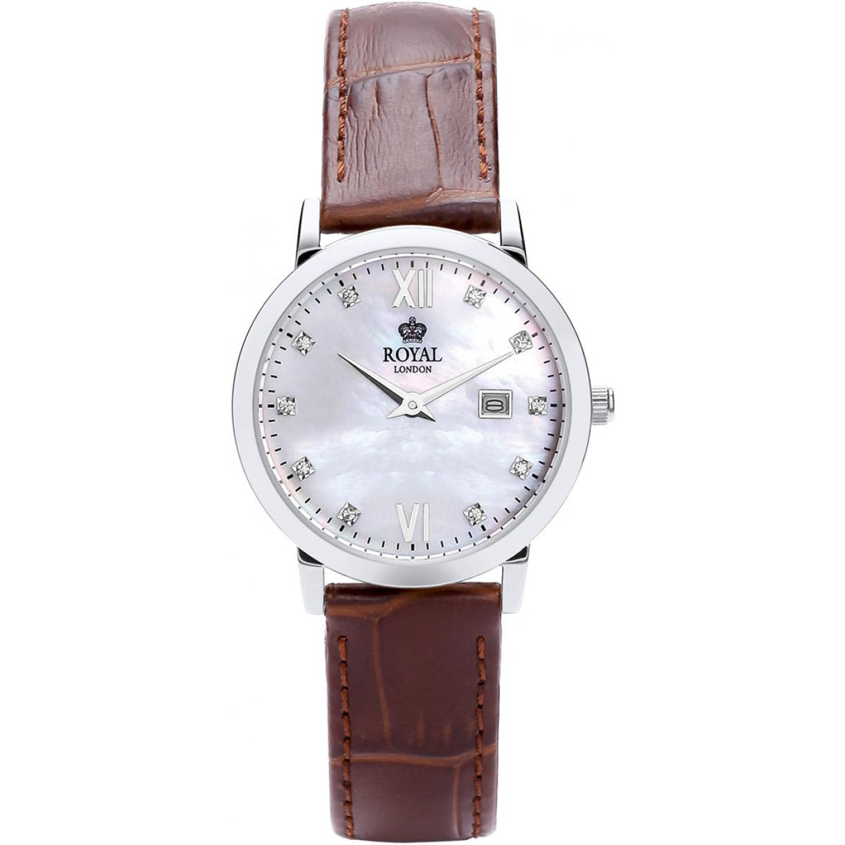 Montre Royal  London 21199-02 - Montre Cuir Marron Vintage Femme
