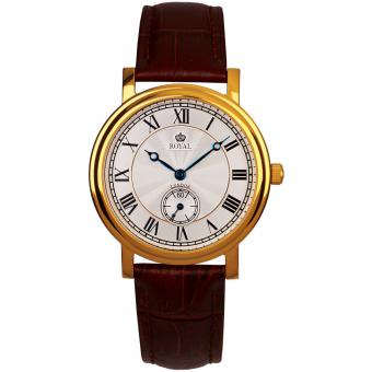 Montre Royal London 40069-04 - Montre Cuir Marron Dorée Homme