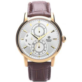 Montre Royal London 41040-03 - Montre Cuir Marron Dorée Homme