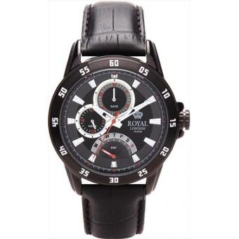 Montre Royal London 41043-01 - Montre Sport Cuir Noire Homme